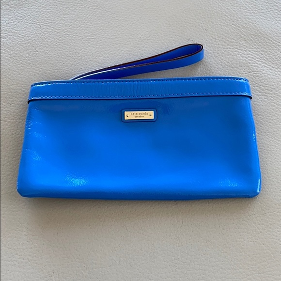 Kate Spade patent leather blue leather clutch